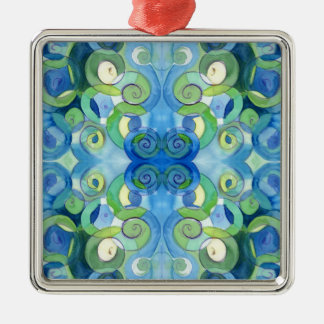 Blues and Greens must always be seen Watercolour Metal Ornament