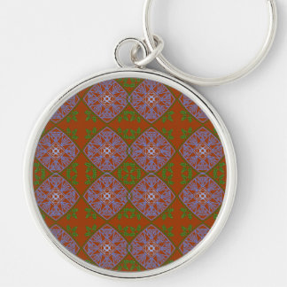 blues and greens over red Abstract art Keychain