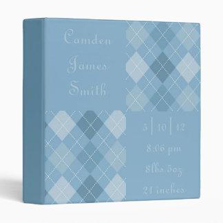 Blues Argyle Baby Book Vinyl Binder