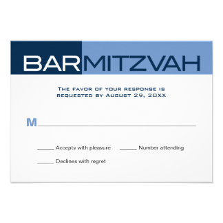 Blues Block Bar Mitzvah Reply RSVP Personalized Invites