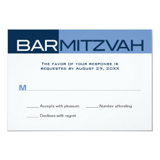 Blues Block Bar Mitzvah Reply RSVP 3.5x5 Paper Invitation Card