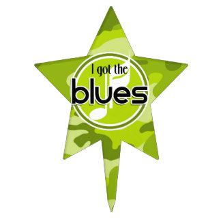 Blues; bright green camo, camouflage cake picks