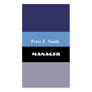 Blues Color Block Classy Professional   Navy Blue Business Card