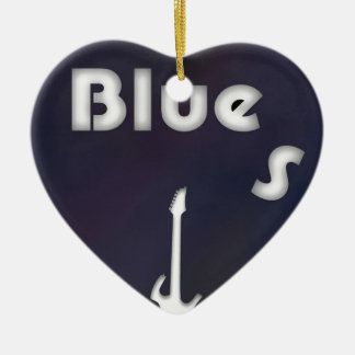 Blues Double-Sided Heart Ceramic Christmas Ornament
