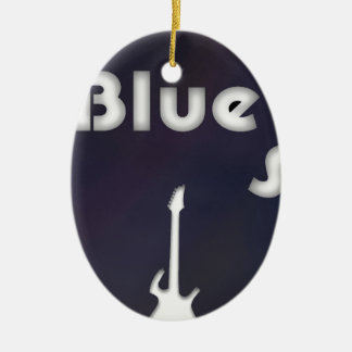 Blues Double-Sided Oval Ceramic Christmas Ornament