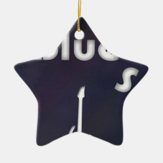 Blues Double-Sided Star Ceramic Christmas Ornament