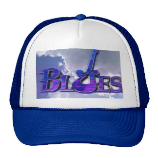 blues guitar design on blue and white truckers hat