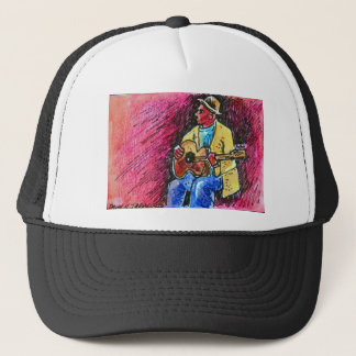 blues guitar man trucker hat