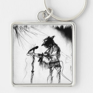 Blues Guitar Player and Band on Stage Keychain