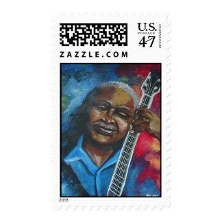 Blues Guitar Player Art Postage Stamp