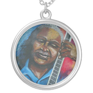 Blues Guitar Player Silver Necklace