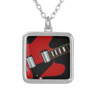 Blues Guitar Silver Plated Necklace