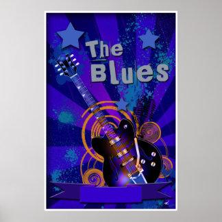 Blues Guitar Starburt Poster