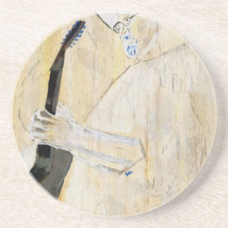 Blues Guitarist Painting in Orange and browns Coaster