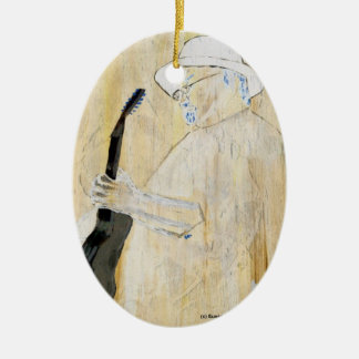 Blues Guitarist Painting in Orange and browns Double-Sided Oval Ceramic Christmas Ornament