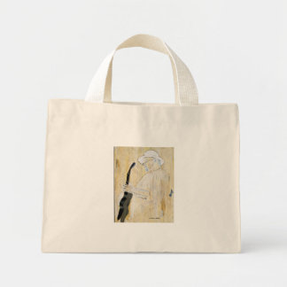 Blues Guitarist Painting in Orange and browns Mini Tote Bag