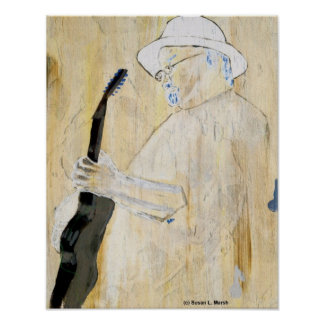 Blues Guitarist Painting in Orange and browns Poster