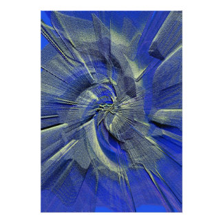 Blues Hint Silver Sand Abstract Poster