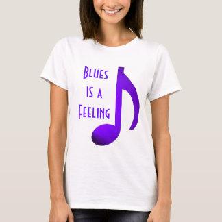 Blues is a Feeling Purple Blue Music Note T-Shirt