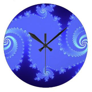 Blues Julia Fractal Abstract Art Wall Clock