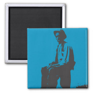 Blues Man 2 Inch Square Magnet