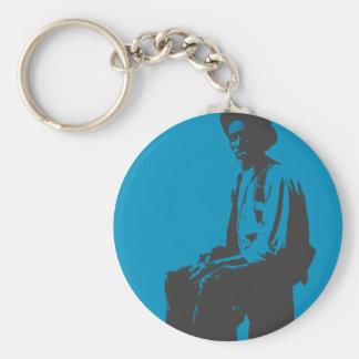 Blues Man Basic Round Button Keychain