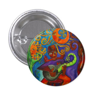 Blues Man   Round Button