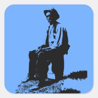 Blues Man Square Sticker