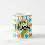 Blues Music; Colorful Argyle Pattern Classic White Coffee Mug