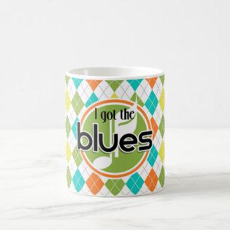 Blues Music; Colorful Argyle Pattern Coffee Mug