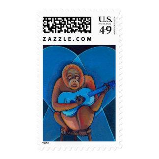 Blues musician orangutan playing guitar fun art postage stamps