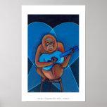Blues musician orangutan playing guitar fun art posters