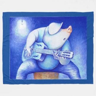 Blues Pig Playing Guitar Fleece Blanket