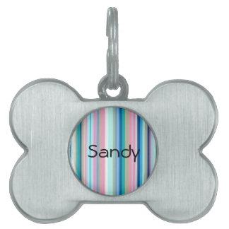 Blues, Pinks, Gray Stripe Pet ID Tag