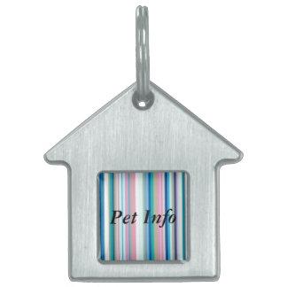 Blues, Pinks, Gray Stripe Pet Name Tag