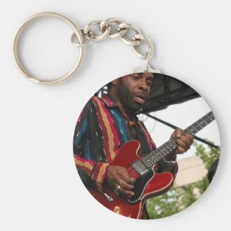 Blues Player Basic Round Button Keychain