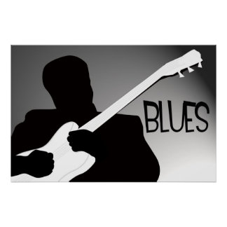 Blues player s silhouette with a spotlight poster