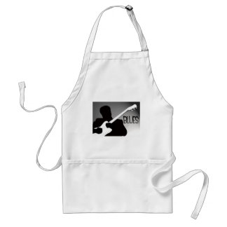 Blues player's silhouette with a spotlight adult apron
