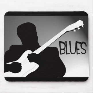 Blues player's silhouette with a spotlight mouse pad