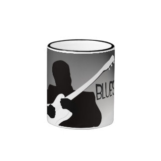 Blues player's silhouette with a spotlight ringer coffee mug