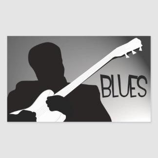 Blues player's silhouette with a spotlight rectangular sticker