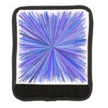 [ Thumbnail: Blues & Purples Line Burst Pattern Luggage Handle Wrap ]