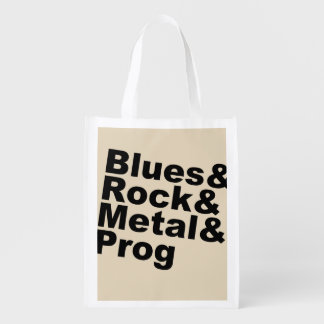 Blues&Rock&Metal&Prog (blk) Reusable Grocery Bag
