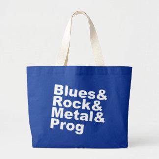 Blues&Rock&Metal&Prog (wht) Large Tote Bag