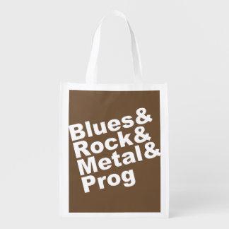 Blues&Rock&Metal&Prog (wht) Reusable Grocery Bag