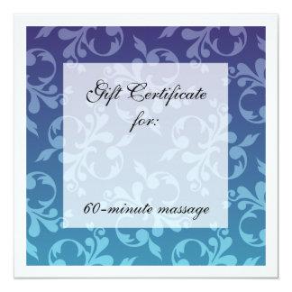 Blues Scrolls Gift Certificate 5.25x5.25 Square Paper Invitation Card