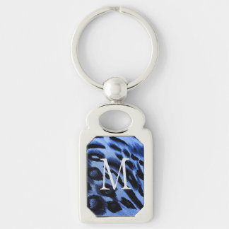 blues Silver-Colored rectangular metal keychain