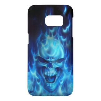 blues skull heads with flames tribal art samsung galaxy s7 case