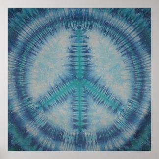 Blues Tie Dye Peace Sign Canvas