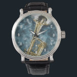 """Blues Trumpet Wrist Watch<br><div class=""""desc"""">A blue and golden trumpet painting design for the musician and trumpet player in your life.</div>"""